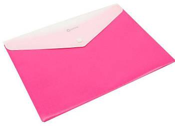 Папка конверт непрозора А4 на кнопці 180 мк рожева O31315-09