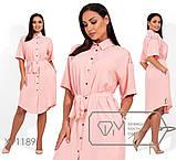Платье-рубашка под пояс с короткими рукавами и гипюровыми вставками раз.48-54, фото 3