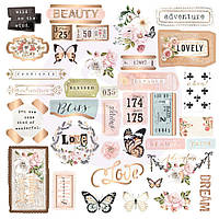 Висічки - Shapes, Tags, Words, Foiled Accents - Apricot Honey - Prima Marketing - 37 шт.