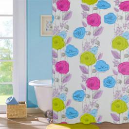 """Шторка для ванної кімнати Colorful flovers"""", 180*180см, ТМ МД"""