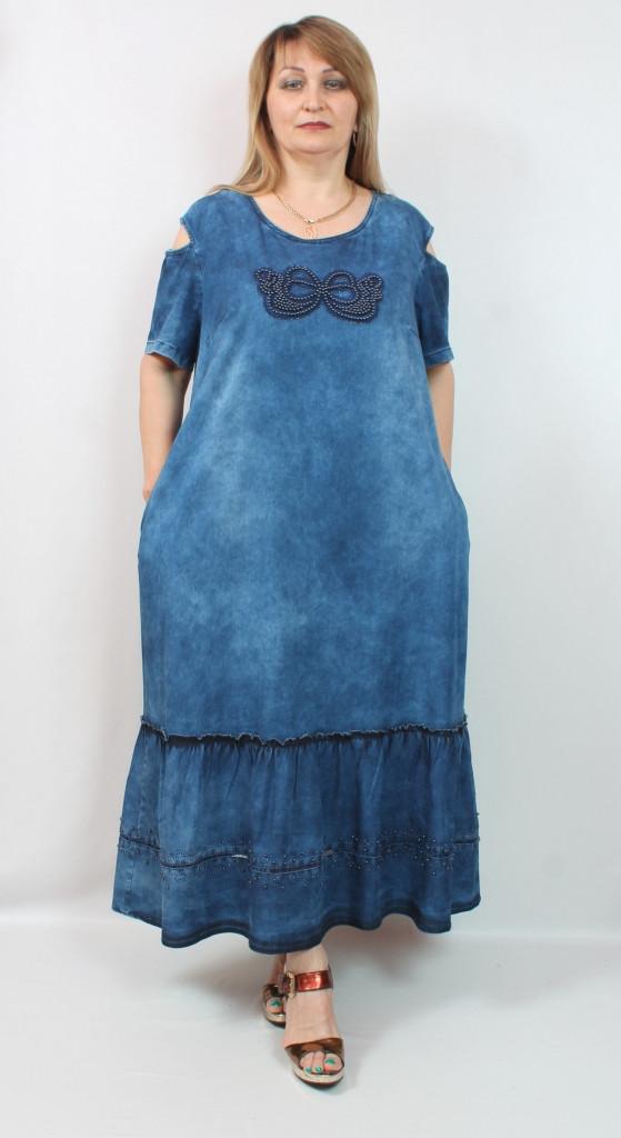 Турецкое длинное женское джинсовое платье, 56-62