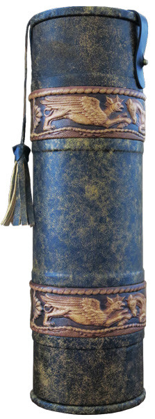 Подарочный кожаный тубус для элитного алкоголя «Скифы 2»