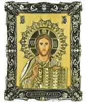 Серебряная Икона Господь Вседержитель с сусальным золотом