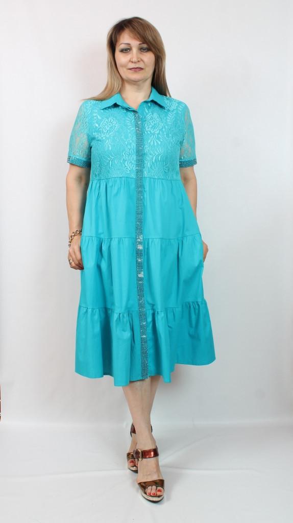 Турецкое женское голубое платье рубашка, 48-54