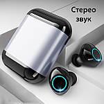 Wi-pods S7 Bluetooth 5.0 наушники беспроводные водонепроницаемые с зарядным чехлом-кейсом. Металлик Оригинал, фото 3