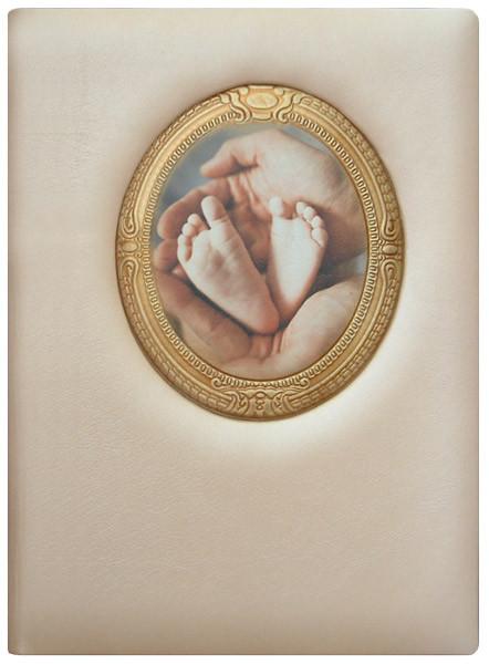 """Папка-обложка в натуральной коже с тиснением и фотопечатью для свидетельства о рождении """"Золотой век"""""""