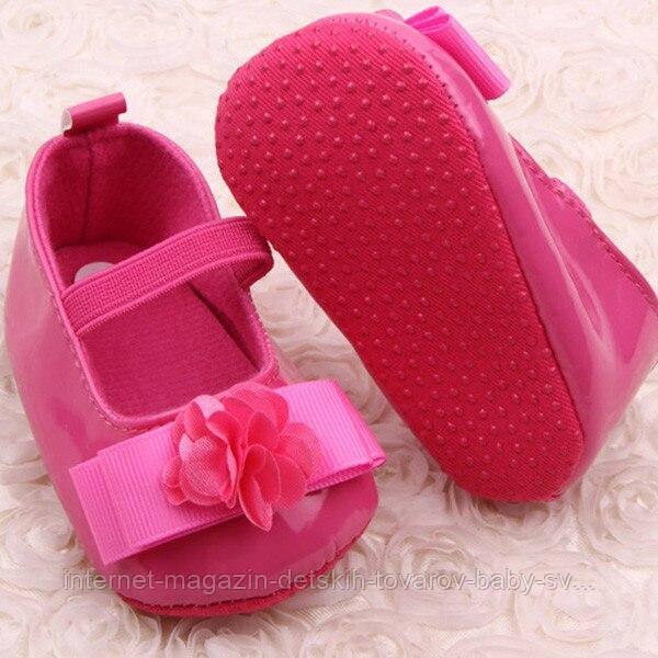 Малиновые лаковые пинеточки для девочки
