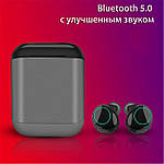 Беспроводные наушники Wi-pods S7 Bluetooth 5.0 водонепроницаемые с зарядным чехлом-кейсом. Металлик Оригинал, фото 3