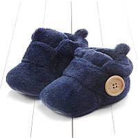 Детские новогодние пинетки Унты, синие сапожки на новорожденного (3, 6, 9, 12, 18 месяцев)