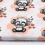 """Отрез ткани """"Музыкальная панда в наушниках"""" на персиковом (№ 1519), размер 50*160, фото 2"""