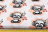 """Отрез ткани """"Музыкальная панда в наушниках"""" на персиковом (№ 1519), размер 50*160, фото 3"""