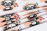 """Отрез ткани """"Музыкальная панда в наушниках"""" на персиковом (№ 1519), размер 50*160, фото 6"""