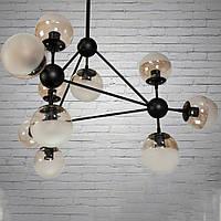 """Люстра """"молекула"""" в стиле лофт на 10 лампочек СветМира (черная) D-A0841/10"""