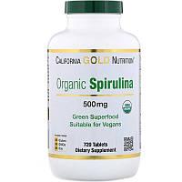 "Органическая спирулина California Gold Nutrition ""Organic Spirulina"" 500 мг (720 таблеток)"