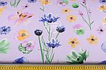 "Отрез ткани ""Орхидеи и братики"" на сиреневом №1329, размер 87*160 см, фото 3"