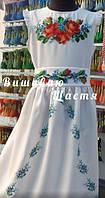 """Платье-сарафан для девочки """"Пышные розы"""" вышитое чешским бисером."""