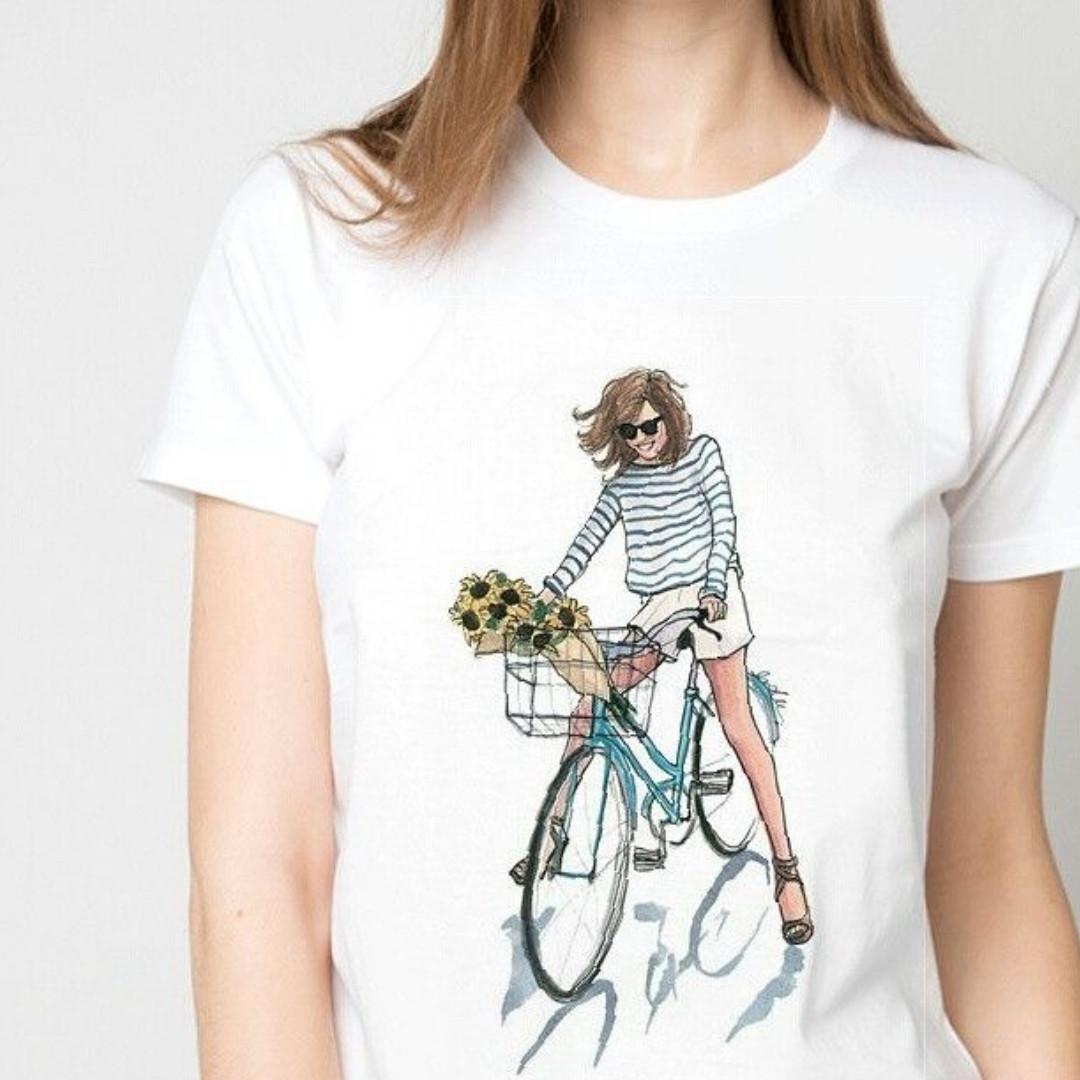 """Футболка жіноча біла з малюнком """"Дівчина на велосипеді"""""""