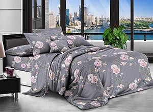 Полуторное постельное белье 3D в сером цвете