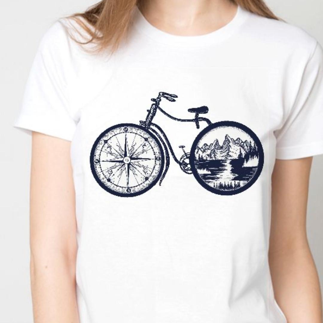 Футболка женская велосипед компас