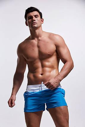 Мужские Пляжные шорты Короткие, для купания, плавания,  AQUX (карман, сетка) Синие \ чоловічі шорти пляжні, фото 2
