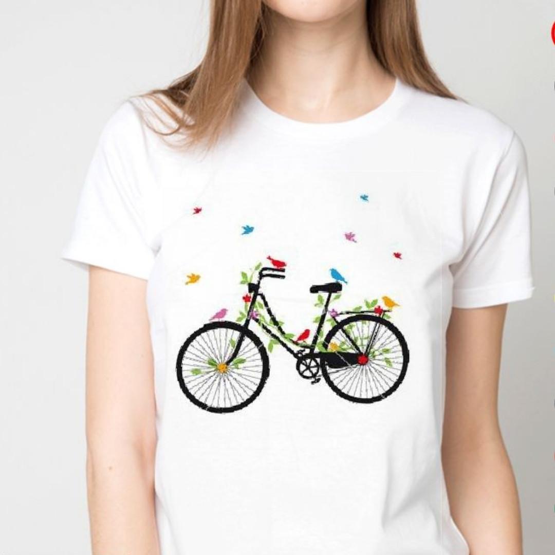 Футболка женская велосипед и бабочки