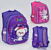 Школьный рюкзак Собачка с бантиком ЗD фиолетовый с ортопедической спинкой на 2 отделения и 3 кармана