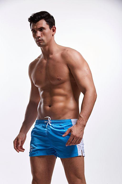 Мужские Пляжные Короткие шорты, для купания, плавания,  AQUX (карман, сетка) Синие \ чоловічі шорти пляжні