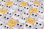 Отрезткани хлопковая с большими котами ярко-жёлтыми и серыми, № 2247а размер 50*160, фото 2