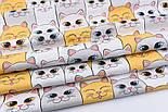 Отрезткани хлопковая с большими котами ярко-жёлтыми и серыми, № 2247а размер 50*160, фото 3