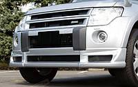 Накладка на передний бампер (Юбка, Губа) на Mitsubishi Pagero Wagon 4 (дорестайлинг)
