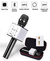 Беспроводной портативный Bluetooth микрофон Q7 в чехле Черный