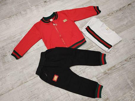 Спортивный костюм тройка  на мальчика весна-осень красный  1-4 года, фото 2