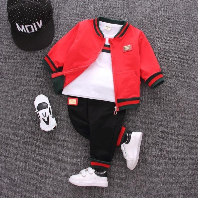 Спортивный костюм тройка  на мальчика весна-осень красный  1-4 года