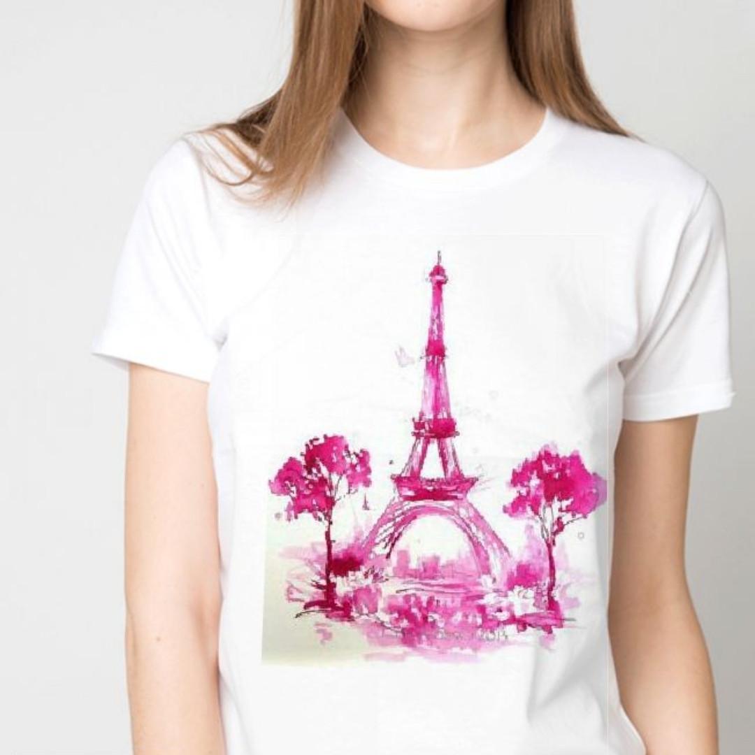 """Футболка женская белая с рисунком """"Эйфелева башня"""""""