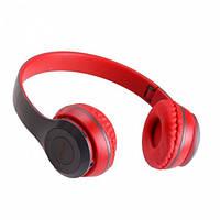 Наушники беспроводные Bluetooth MDR P47 Серые с красным, фото 1