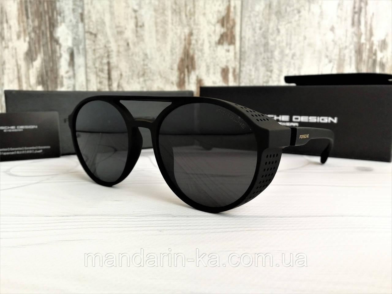 Очки унисекс солнцезащитные с  шорами с черными линзами матовые (реплика)