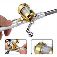 Карманная телескопическая удочка Pocket pen fishing red складная из высококачественного алюминиевого сплава
