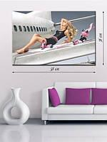 Картина 38х58 на холсте «Девушка и самолет»