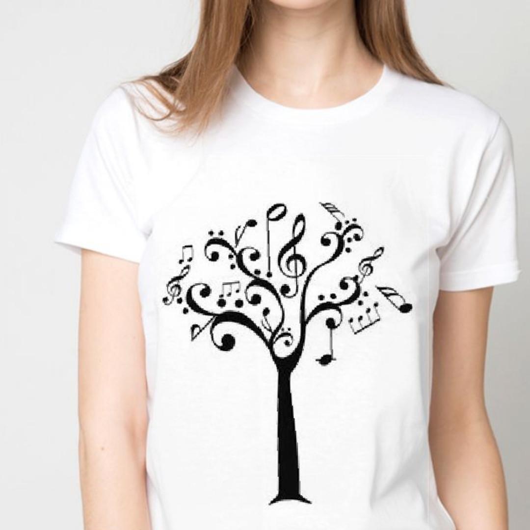 """Футболка женская белая с рисунком """"Нотное дерево"""""""
