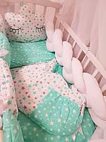 """Детское постельное белье в кроватку """"Коса"""", комплект постельного в детскую кроватку"""
