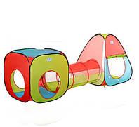 Палатка детская А999-148 (М 2958) с тоннелем, размер 230*78*91 см, 4 входа, в сумке