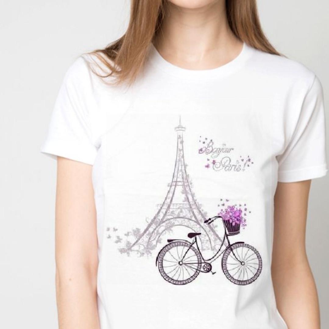 Футболка женская эйфелевя башня и велосипед