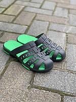 Кроксы детские черные с зеленым оптом ( 33-40 ) Украина, фото 1