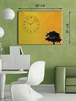 Фотографическая картина с часами «Дерево на закате дня»