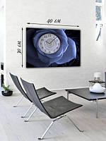 Фотографическая картина с часами «Синий цветок»