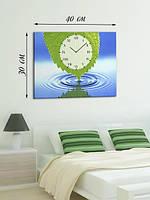 Фотографическая картина с часами «Зеленый лист»