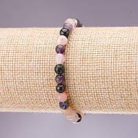 Браслет натуральный камень ассорти гладкий шарик d-6мм L-18см на резинке