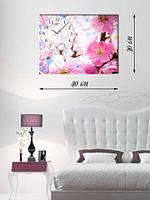 Фотографическая картина с часами «Ветка сакуры»