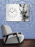 Фотографическая картина с часами «Стебли растений»