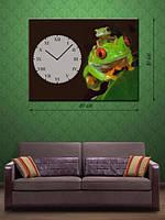 Фотографическая картина с часами «Лягушата»